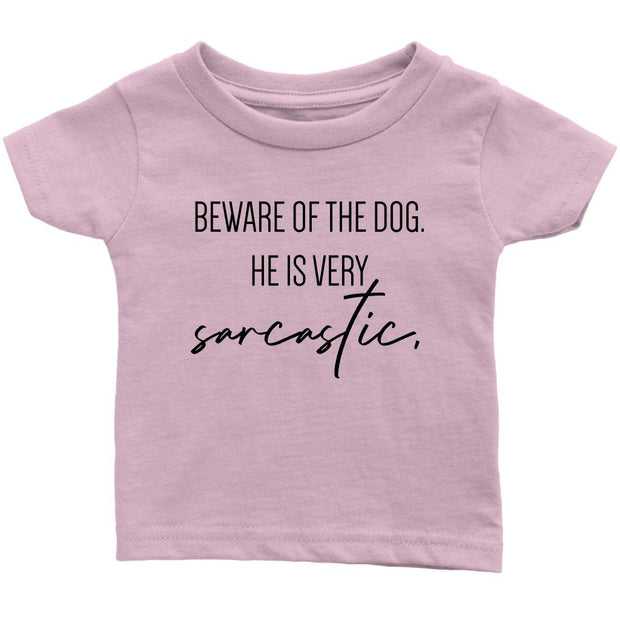 Beware Of The Dog Baby Tee-Light Pink-Woofingtons