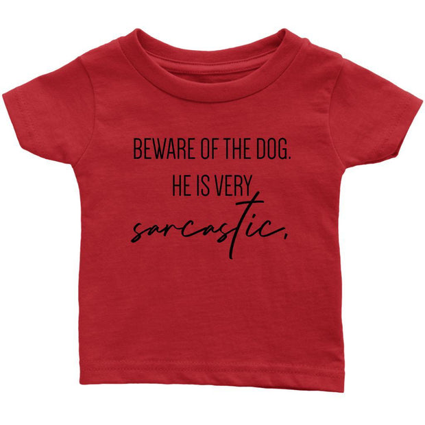 Beware Of The Dog Baby Tee-Red-Woofingtons