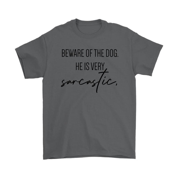 Beware Of The Dog Mens Tee-Charcoal-Woofingtons