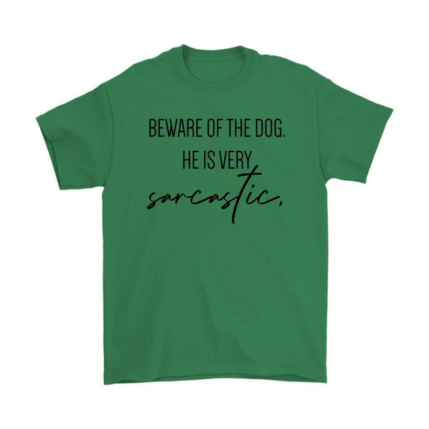 Beware Of The Dog Mens Tee-Irish Green-Woofingtons