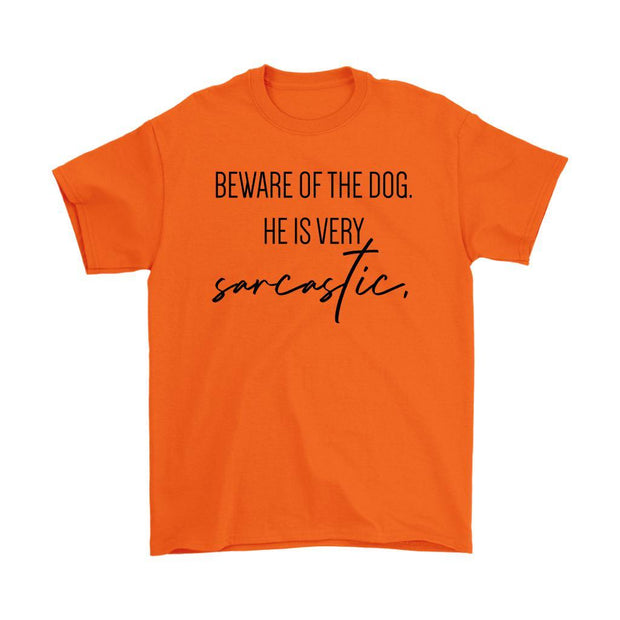 Beware Of The Dog Mens Tee-Orange-Woofingtons