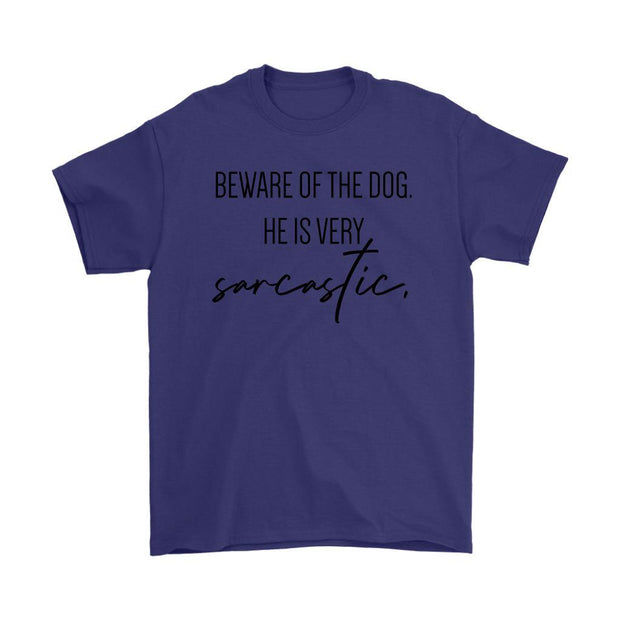 Beware Of The Dog Mens Tee-Purple-Woofingtons