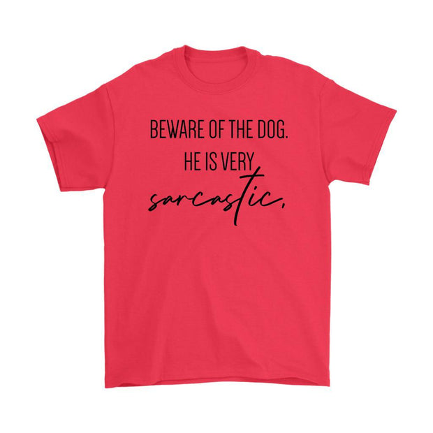 Beware Of The Dog Mens Tee-Red-Woofingtons