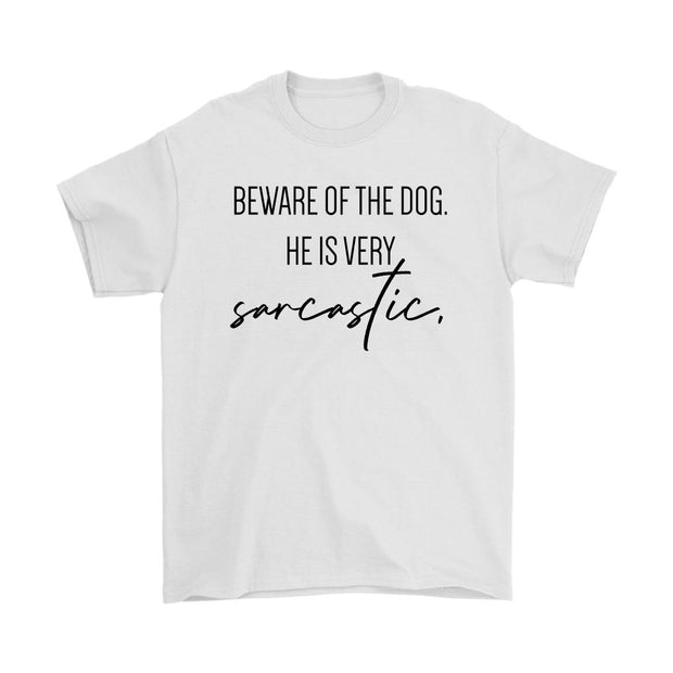 Beware Of The Dog Mens Tee-White-Woofingtons