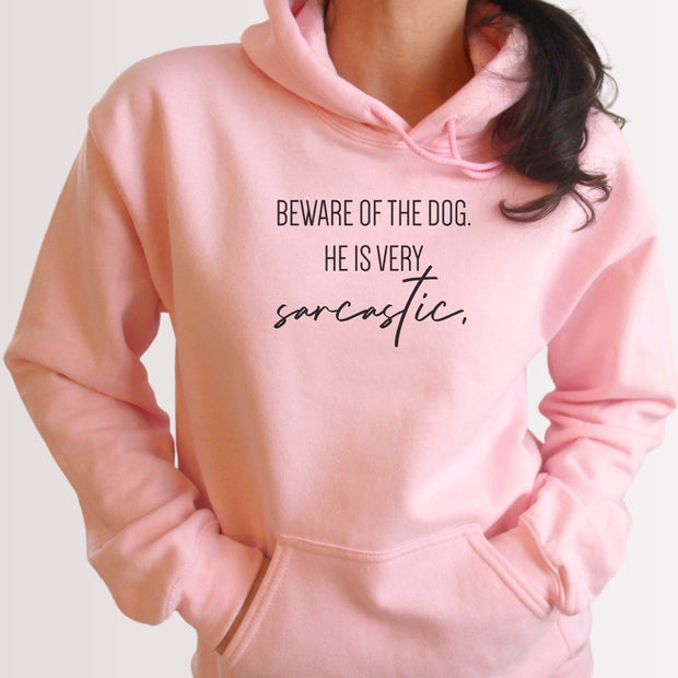 Beware Of The Dog Unisex Hoodie Grey Woofingtons