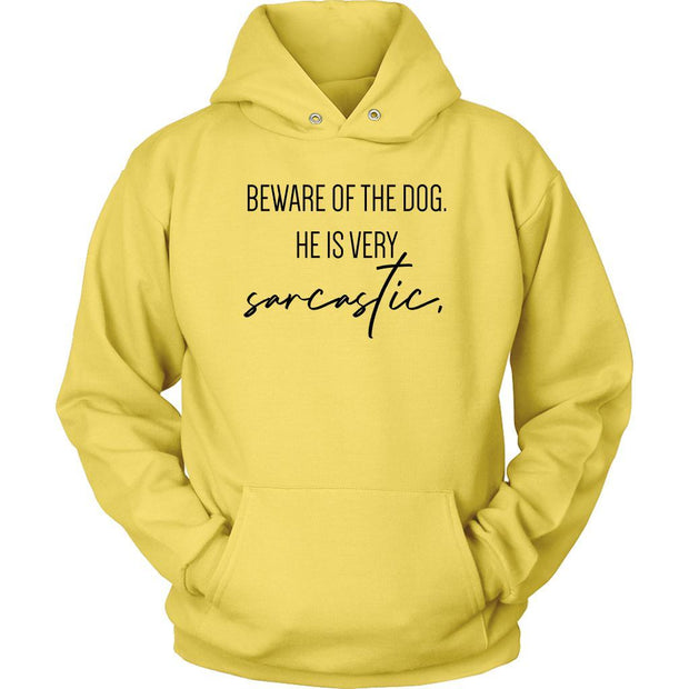 Beware Of The Dog Unisex Hoodie-Yellow-Woofingtons