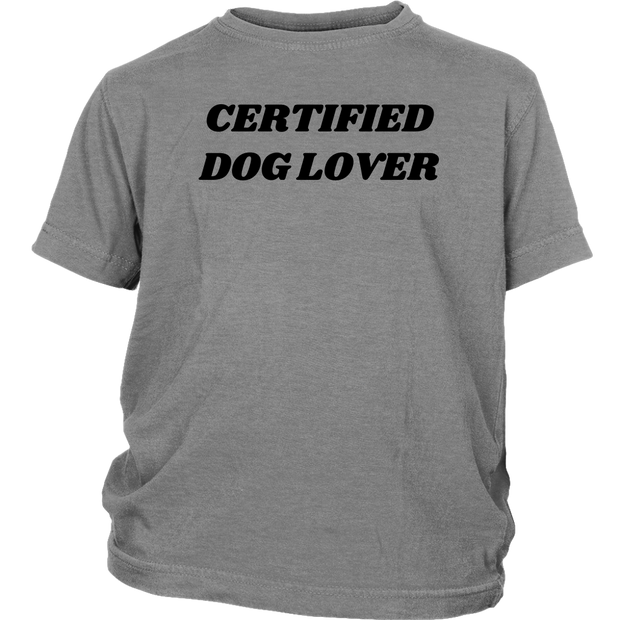 Certified Dog Lover Youth Tee District Youth Shirt Woofingtons