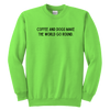 Coffee And Dogs Make The World Go Round Youth Sweatshirt Youth Crewneck Sweatshirt Woofingtons