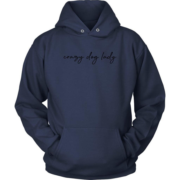 Crazy Dog Lady Unisex Hoodie-Navy-Woofingtons