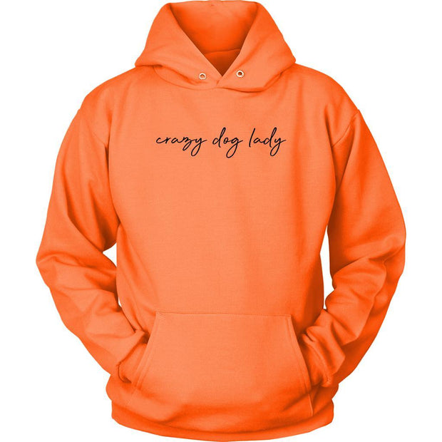Crazy Dog Lady Unisex Hoodie-Neon Orange-Woofingtons