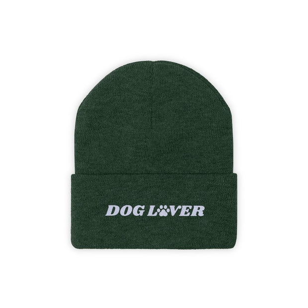 Dog Lover Paw Print Knit Beanie-Apparel-Forest Green-Woofingtons