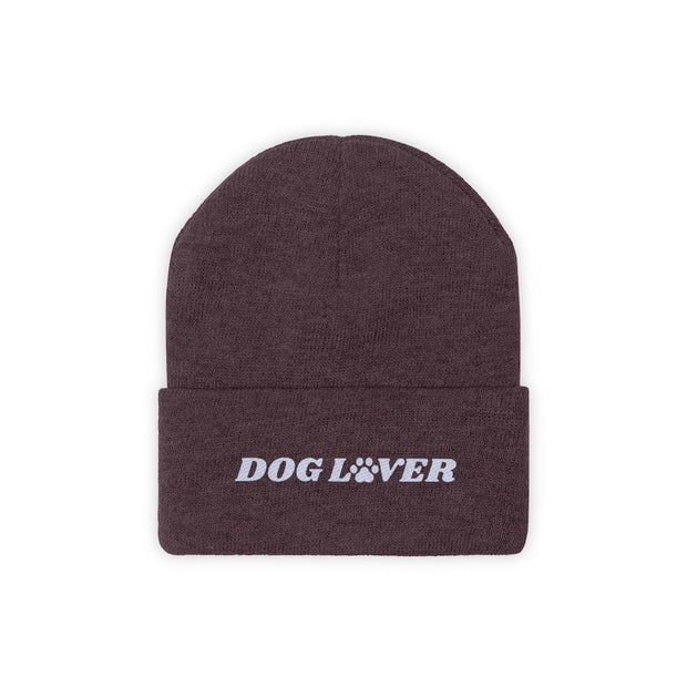 Dog Lover Paw Print Knit Beanie-Apparel-Maroon-Woofingtons