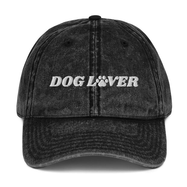 Dog Lover Paw Print Vintage Cotton Twill Cap-Apparel-Black-Woofingtons