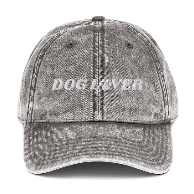 Dog Lover Paw Print Vintage Cotton Twill Cap-Apparel-Charcoal Grey-Woofingtons
