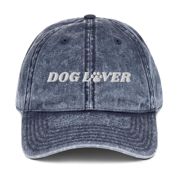 Dog Lover Paw Print Vintage Cotton Twill Cap-Apparel-Navy-Woofingtons