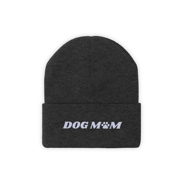 Dog Mom Paw Print Knit Beanie-Apparel-Black-Woofingtons