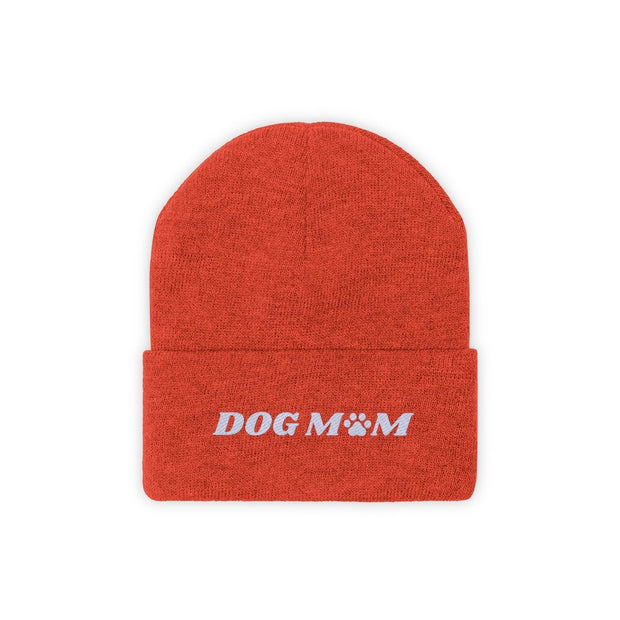 Dog Mom Paw Print Knit Beanie-Apparel-Deep Orange-Woofingtons