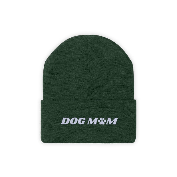 Dog Mom Paw Print Knit Beanie-Apparel-Forest Green-Woofingtons