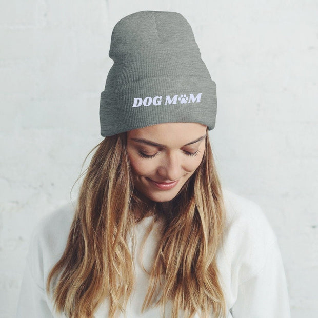 Dog Mom Paw Print Knit Beanie-Apparel-Graphite Heather-Woofingtons