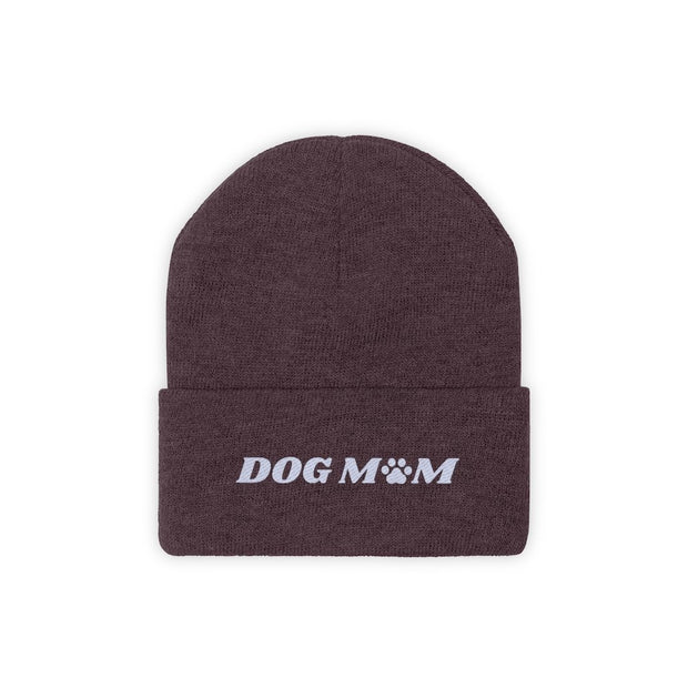 Dog Mom Paw Print Knit Beanie-Apparel-Maroon-Woofingtons