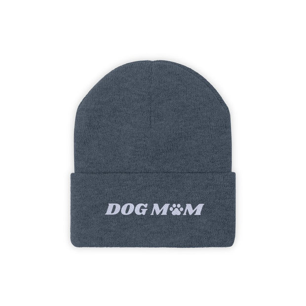 Dog Mom Paw Print Knit Beanie-Apparel-Millennium Blue-Woofingtons