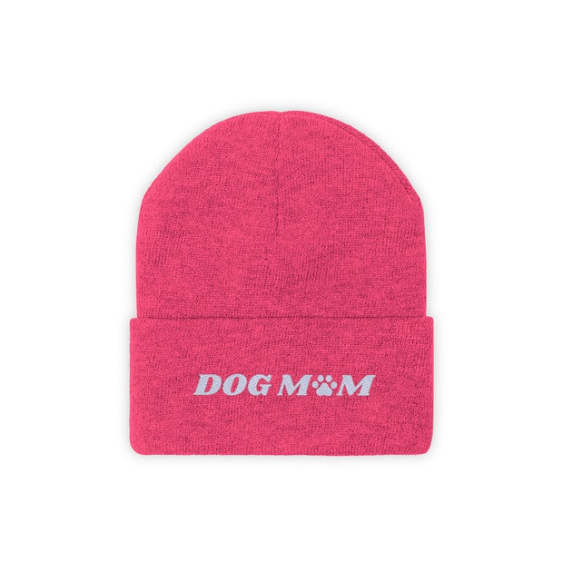 Dog Mom Paw Print Knit Beanie-Apparel-Neon Pink-Woofingtons