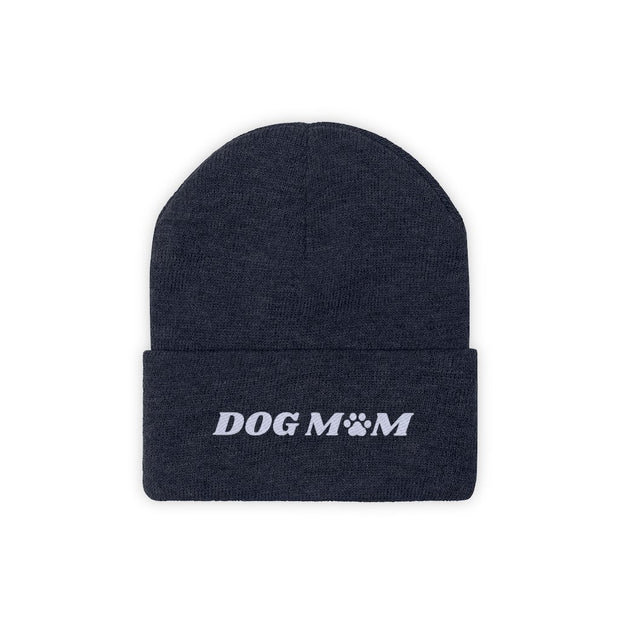 Dog Mom Paw Print Knit Beanie-Apparel-True Navy-Woofingtons