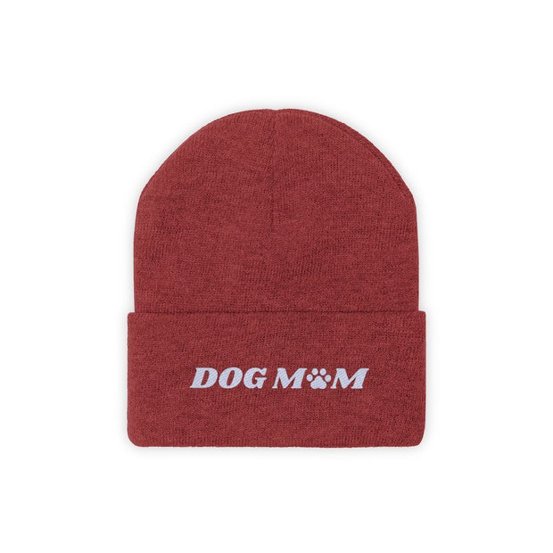 Dog Mom Paw Print Knit Beanie-Apparel-True Red-Woofingtons