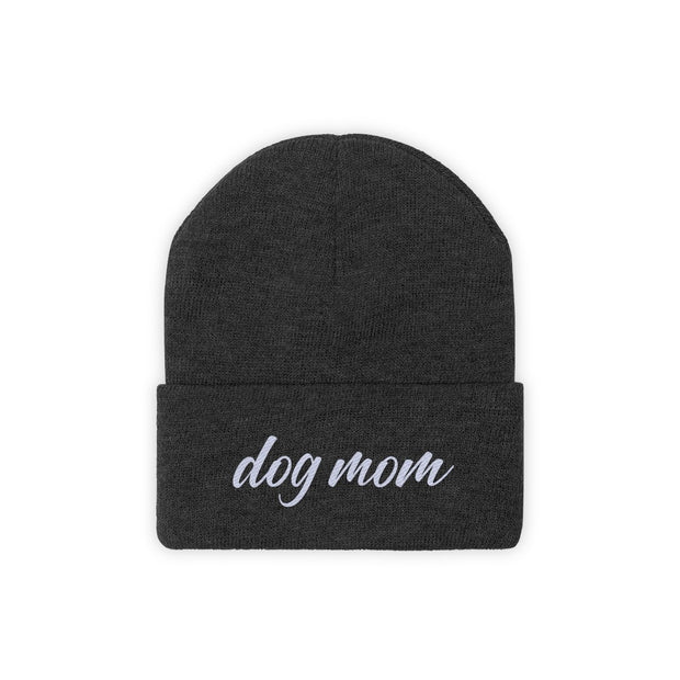 Dog Mom Script Knit Beanie-Apparel-Black-Woofingtons