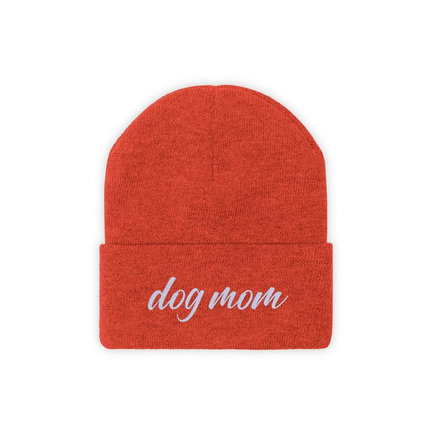 Dog Mom Script Knit Beanie-Apparel-Deep Orange-Woofingtons