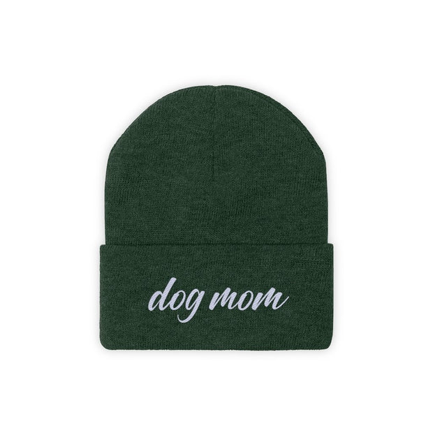 Dog Mom Script Knit Beanie-Apparel-Forest Green-Woofingtons