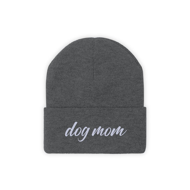 Dog Mom Script Knit Beanie-Apparel-Graphite Heather-Woofingtons