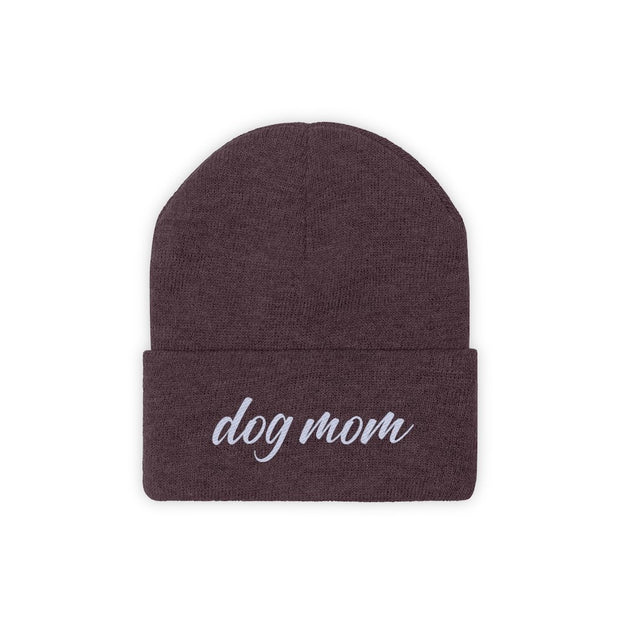 Dog Mom Script Knit Beanie-Apparel-Maroon-Woofingtons