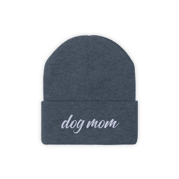 Dog Mom Script Knit Beanie-Apparel-Millennium Blue-Woofingtons