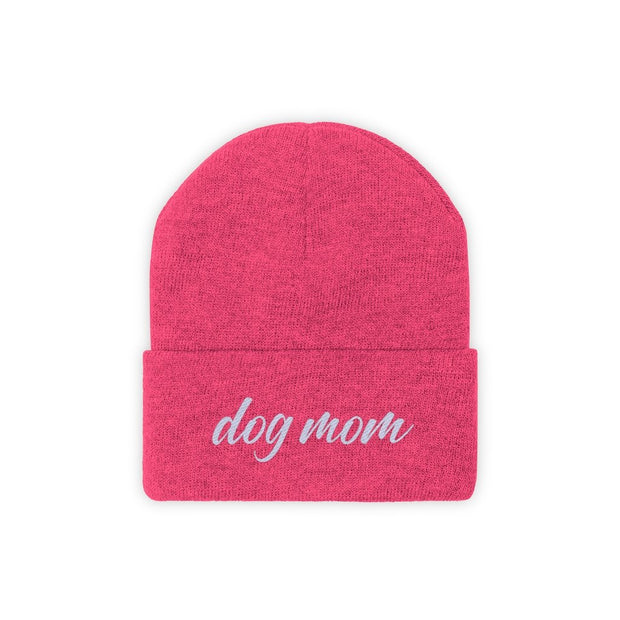 Dog Mom Script Knit Beanie-Apparel-Neon Pink-Woofingtons
