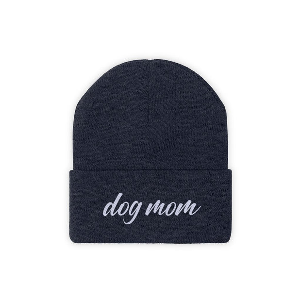 Dog Mom Script Knit Beanie-Apparel-True Navy-Woofingtons