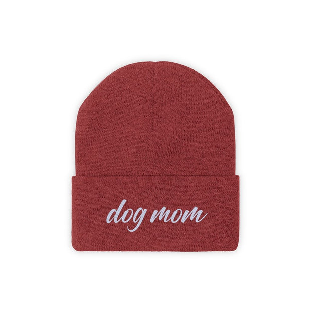 Dog Mom Script Knit Beanie-Apparel-True Red-Woofingtons