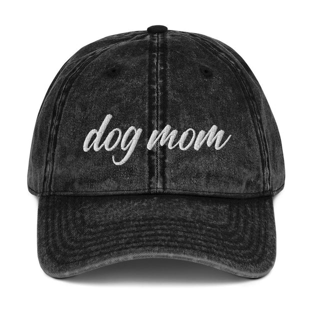 Dog Mom Script Vintage Cotton Twill Cap-Apparel-Black-Woofingtons