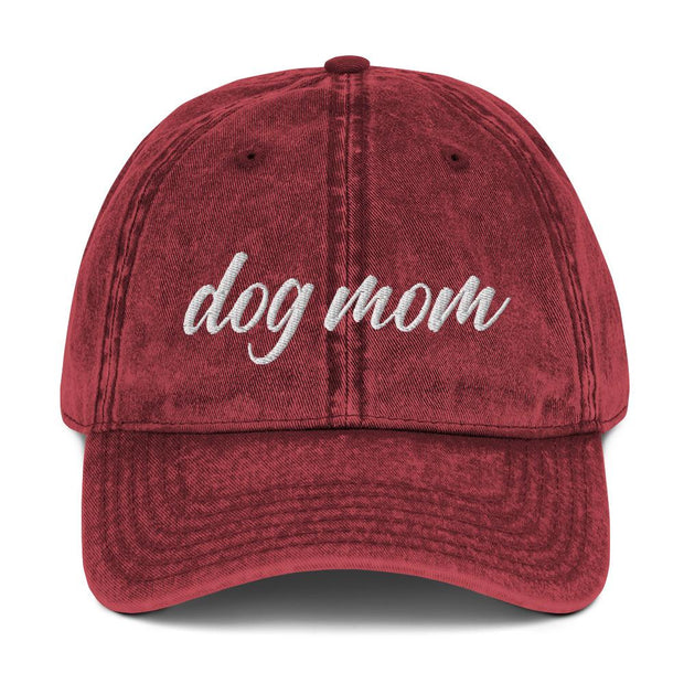 Dog Mom Script Vintage Cotton Twill Cap-Apparel-Maroon-Woofingtons