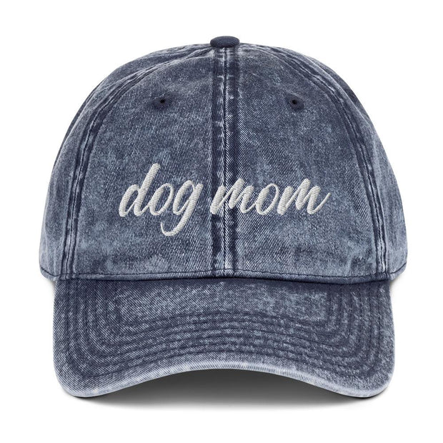 Dog Mom Script Vintage Cotton Twill Cap-Apparel-Navy-Woofingtons