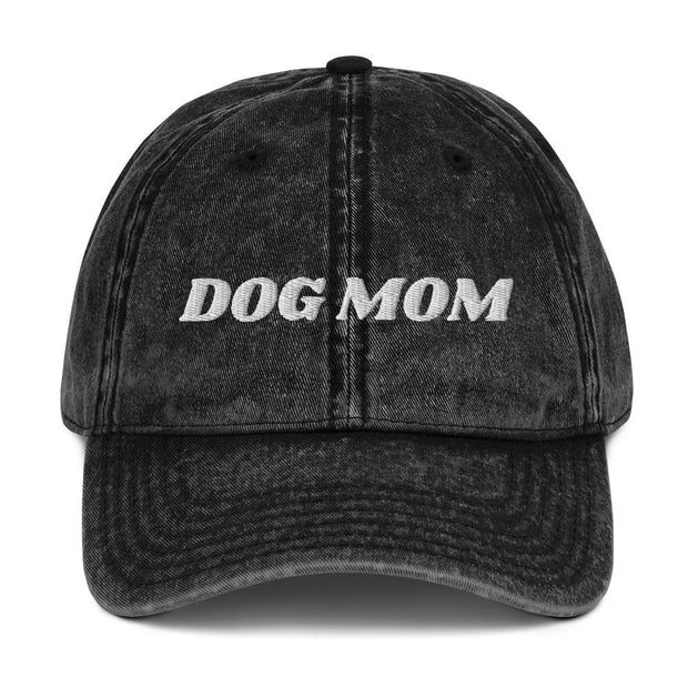 Dog Mom Vintage Cotton Twill Cap-Apparel-Black-Woofingtons