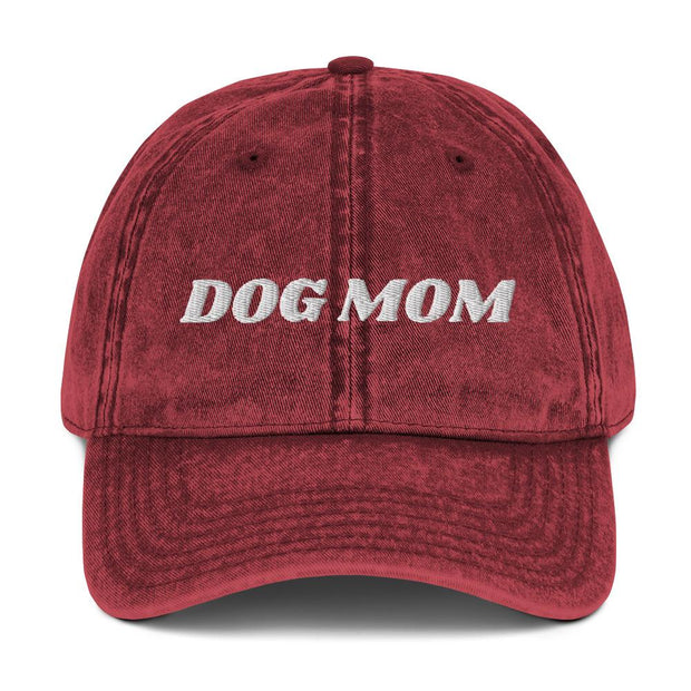 Dog Mom Vintage Cotton Twill Cap-Apparel-Maroon-Woofingtons