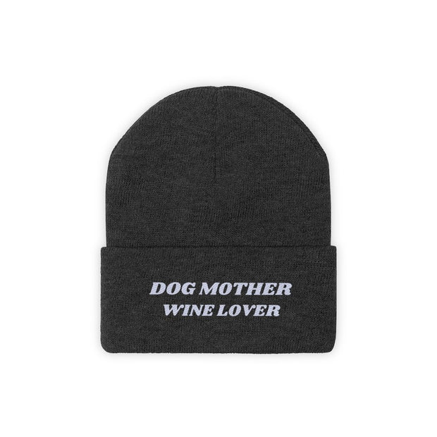 Dog Mother Wine Lover Knit Beanie-Apparel-Black-Woofingtons
