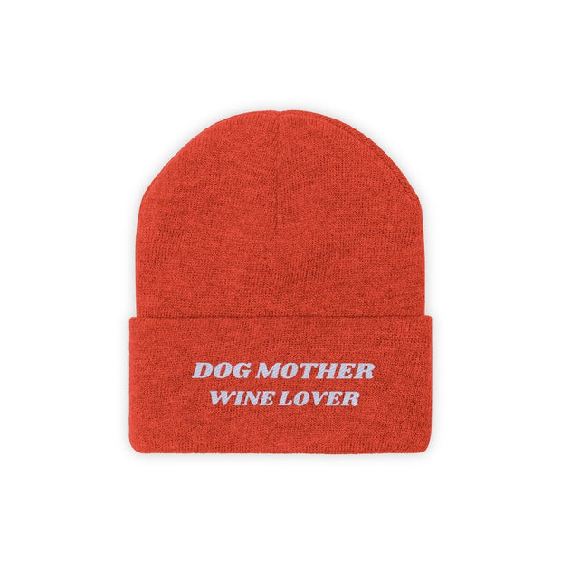 Dog Mother Wine Lover Knit Beanie-Apparel-Deep Orange-Woofingtons