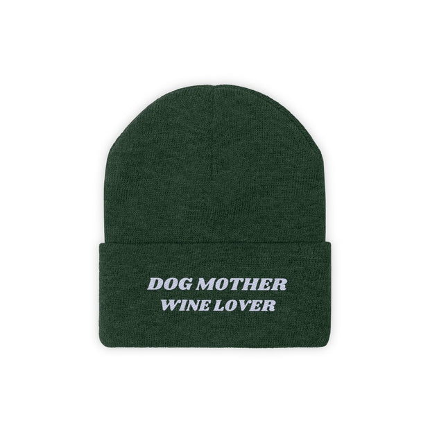 Dog Mother Wine Lover Knit Beanie-Apparel-Forest Green-Woofingtons
