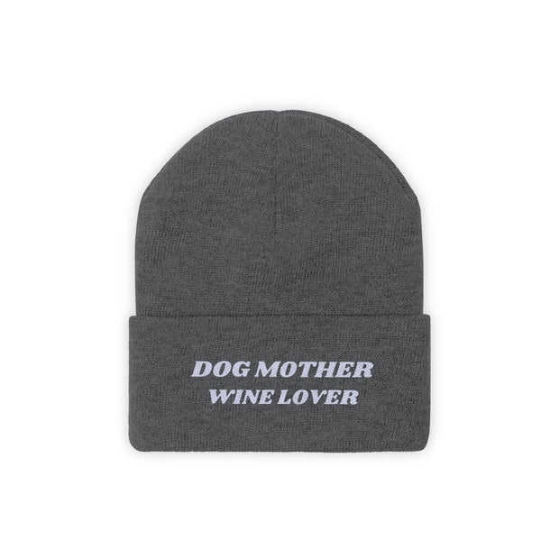 Dog Mother Wine Lover Knit Beanie-Apparel-Graphite Heather-Woofingtons