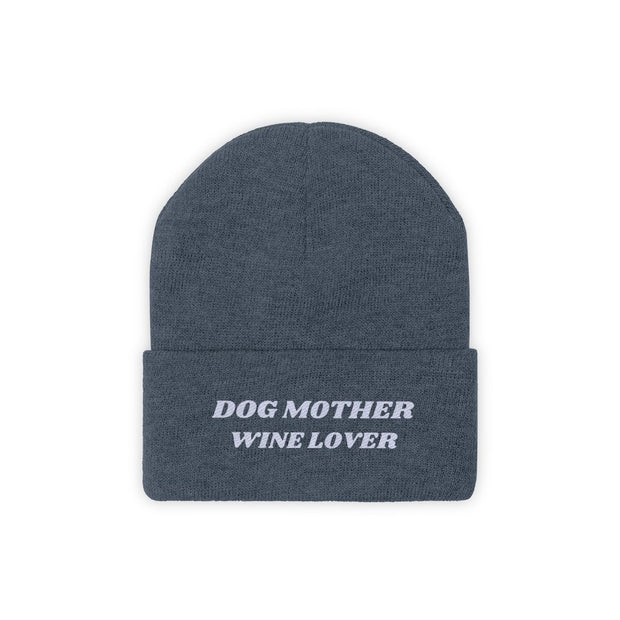 Dog Mother Wine Lover Knit Beanie-Apparel-Millennium Blue-Woofingtons