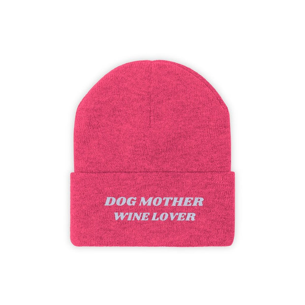 Dog Mother Wine Lover Knit Beanie-Apparel-Neon Pink-Woofingtons