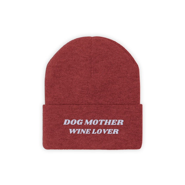 Dog Mother Wine Lover Knit Beanie-Apparel-True Red-Woofingtons