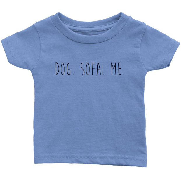 Dog. Sofa. Me Baby Tee-Baby Blue-Woofingtons